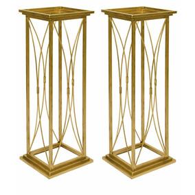 Colunas Decoração Casamento Ferro Ouro Envelhecido 80cm