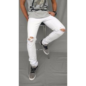 Calça Masculina Jeans Sarja Skinny Rasgada Destroyed Juvenil
