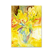 Vase With Yellow Flowers Canvas Art By Sheila Golden