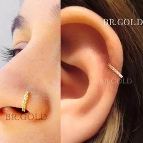 Piercing Orelha Nariz Cartilagem Argola Dourada Com Pedras