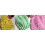 3 Toucas Para Bebê, Feita A Mão Em Crochê E Trico,promoção