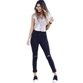 Calça Jeans Cós Alto Hot Pant Moda Feminina Rasgada N Joelho