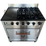 Cocina Industrial Pevi 4h + Plancha Bifera C/ Valvula 85cm.