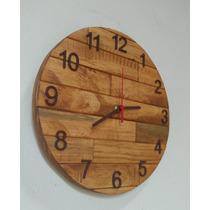 Relógio De Parede De Madeira Cor Imbuia 30 Cm.