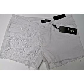Shorts Mezclilla Blanco Aplicaciones De Crochet 7 Juvenil