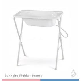 Banheira Bebe Plastica Branca C/ Suporte Galzerano