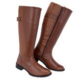 Bota Sapato Feminino Montaria Cano Alto Preta/marrom Form