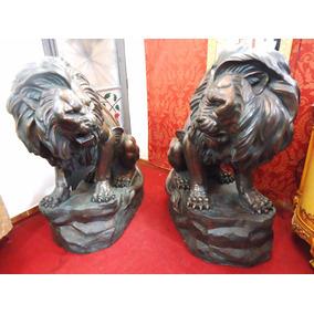 Par De Leões Em Tamanho Real Fibra Escultura