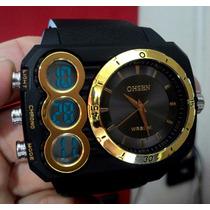 Relógio Quadrado Masculino Prova D Água Digital & Analogico