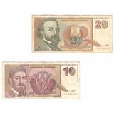 2 Billetes Yugoslavia 20 Y 10 Novih Dinara (1994)