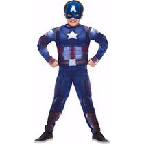 Fantasia Capitão América 3 Guerra Civil Infantil Longa
