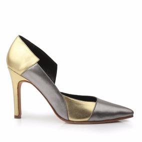 Zapato De Cuero Mujer Taco Alto Metalizado Ash - Ferraro