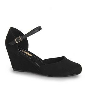 Sapato Anabela Feminino Moleca Camurça 5270.701