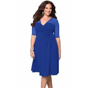Vestido Azul Rey Tallas Extras Grandes Plus Mangas Spandex