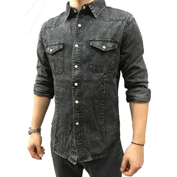 Camisa De Jean Hombre Entallada Slim Fit.