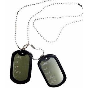 Corrente Militar C/ 2 Placas Identificação Exercito Aluminio