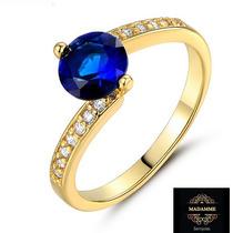 Anel De Formatura Banhado A Ouro 18k - Pedra Azul