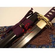 Espada Samurai Lâmina Negra Aço Dobrado Forjado Tradicional