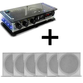 Kit 6 Caixas Acusticas Teto + Amplificador Bluetooth Orion