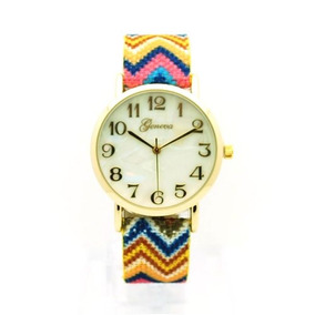Oro Tejido Nativo Americano Tejido Multicolor Band Reloj Mu