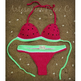 Bikini Tejida A Crochet. Hilo Elastizado Con Lycra. Sandía