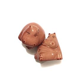 Salero Y Pimentero Cerámica Colección Hipopótamos Animales