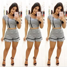 Conjunto Feminino Cropped E Shorts Xadrez Moda Insta Atacado