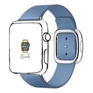 Pulseira Couro Legítimo Fecho Moderno Para Apple Watch