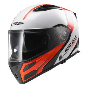 Casco Moto Rebatible Ls2 324 Rapid Blanco Rojo Doble Visor