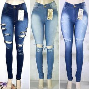 Calça Jeans Feminina Rasgada Desfiada Moda Blogueira Promoca