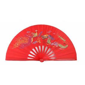 Abanico De Bambú Rojo Fénix Y Dragón Para Taichi