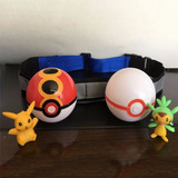Pokemon Clip Cinturon Ajustable + 2 Pokeball + 2 Figuras