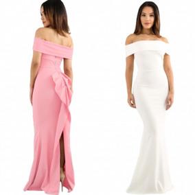 Vestido De Fiesta Blanco Rosa Sin Hombros Moda Largo Boda