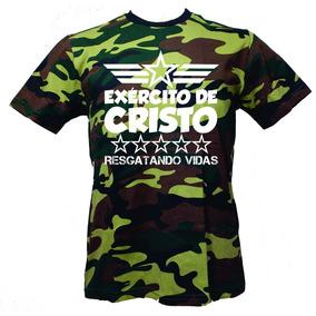 Camiseta Metal Silker Exército De Cristo Camuflado Verde