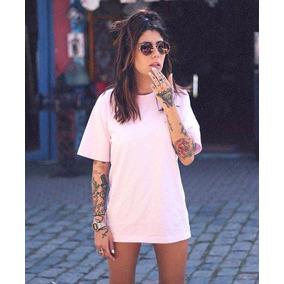 Vestido Camiseta Rosa Claro Estilo Tumblr