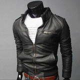 Campera Cuero / Entallada Motorbiker Pu Negro Miami Man