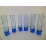 Mini Vaso De Vidro Decoração Mesas Festas - Kit C/ 6 Un Azul