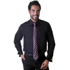 Camisa Social Masculina Fio 50 P/ Abotoadura F01299a Preto