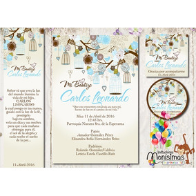 Invitacion + Etiquetas Bautizo Jaulas Vintage Azules