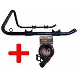 Kit Suporte P/ Parede Horizontal + Cadeado P Bike 12mmx1,5m
