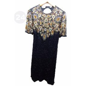 Vestido De Fiesta Gasa De Seda Natural Color Negro Bordado