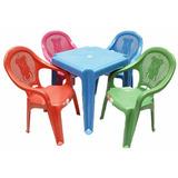 Conjunto De Mesa E Cadeiras Plástico Infantil - Frete Grátis