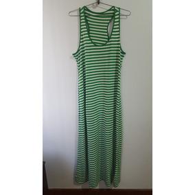 Vestido Feminino Longo Listrado Verde Branco