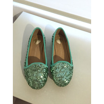 Flats Nine West Con Lentejuelas Color Menta