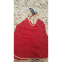 Blusa Regata Alcinha Vermelha Animale Renda Seda Pura 38