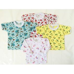 Kit 05 Blusas C/ Botão Estampada Para Bebês M/curta Ou Longa
