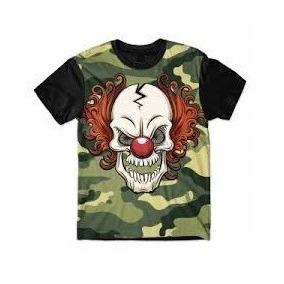 Camiseta Palhaço Caveira Camisetas Masculino Manga Curta - Camisetas ... 69ee68f2b9d