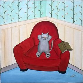 Gato Descansando, Oleo Sobre Tela Poblette-