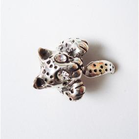 Anillo Jaguar, Tigre Animal, Ojos Cristal Plata Pura Ley.925