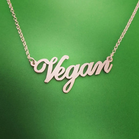 Collar Vegan 20mm Colgante Cadena Vegano Regalo